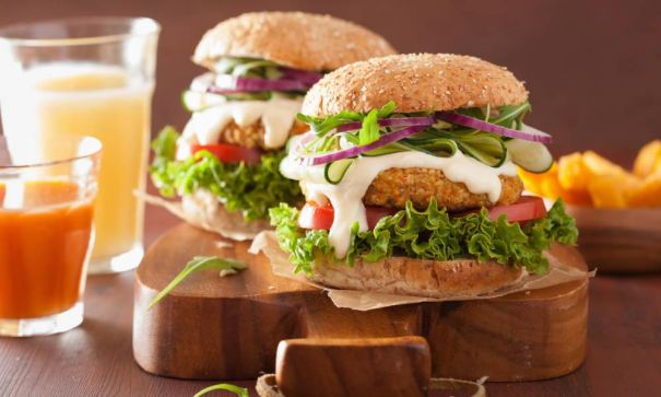 A Healthy Oatmeal Burger Matches Up With Soy Smoothie - 2