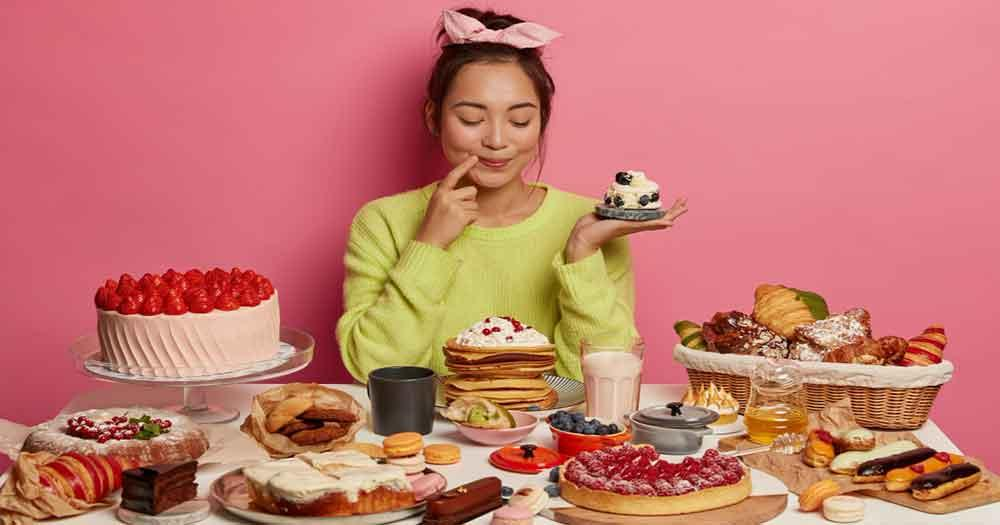 A sudden habit of eating too much of sweets or salty foods