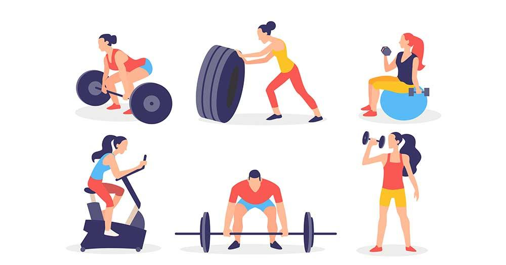 Demanding workout fitness in a gym for professional
