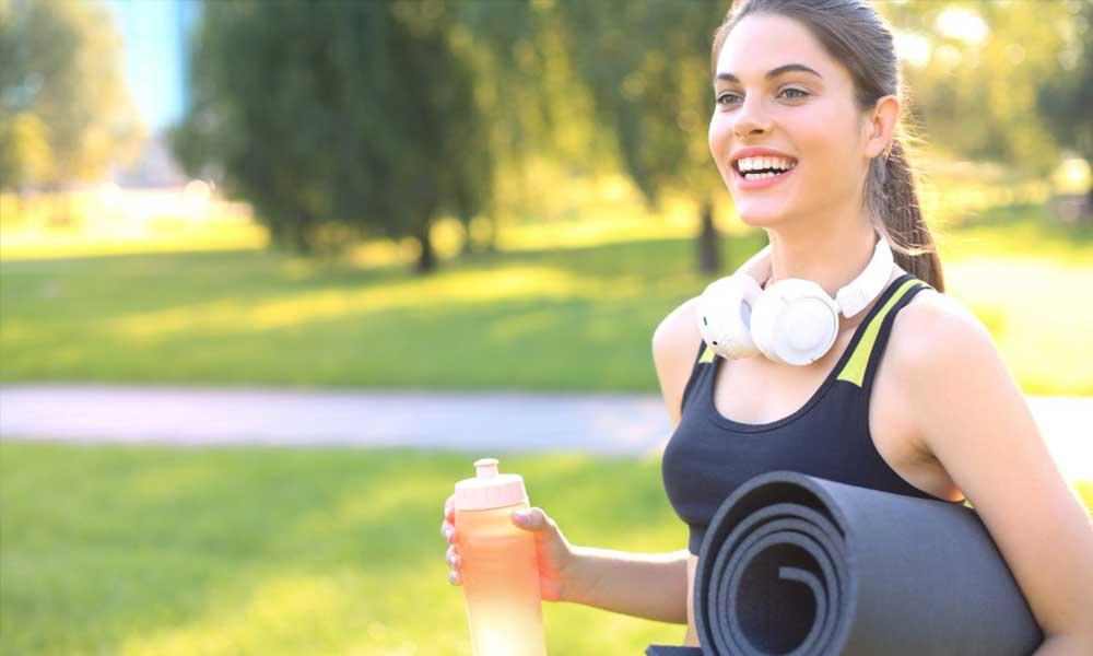 fitness with wireless Bluetooth headphones for HIIT