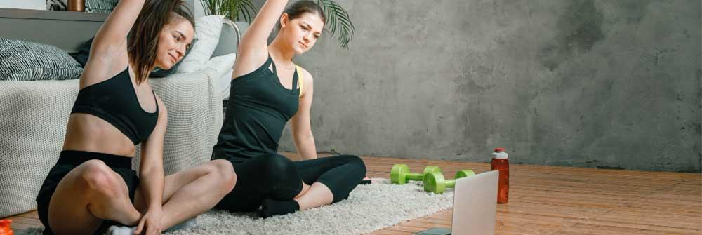 taking virtual fitness personal training or yoga sessions from an expert